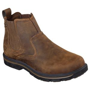 Men's Skechers Leather Pull-On Work Boots